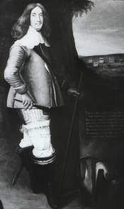 """Die Aufschrift auf dem Bild lautet: """"Claus v. Ahlefeldt, Erbherr der Herrschaft Bramstedt, Schierensee, Klein Nordsee, v. Wisch, Ritter des Elefanten- und Dannebrog Ordens. Seiner königl. Majestät zu Dänemark, Norwegen Generalfeldmarschall Vice-Re in Norwegen, Ober-Kriegsrath, Oberster zu Fuss und Ross, Amtmann zu Nieborch""""."""