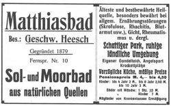 Werbung für das Matthiasbad vor dem 1. Weltkrieg mit Pensionspreisen von 4 Mark bis 4.50 Mark