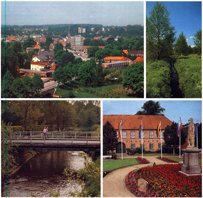 """Seite 47 Oben; Blick auf die """"Rolandstadt im Grünen"""" vom Turm des Intermar-Hotels """"Köhlerhof"""". Oben rechts: Heil ist die Welt noch in der Moorlandschaft bei Bad Bramstedt. Unten links: Die Hambrücke, das Eingangstor zur Rheumaklinik. Bad Bramstedt besitzt 24 Brücken. Die Hambrücke ist wahrscheinlich die älteste. Urkundlich wird sie bereits 1317 erwähnt, als die Schlacht auf dem Strietkamp stattfand. Unten rechts: Schloß und Roland - denkwürdige Zeugen der Vergangenheit auf dem Bleeck. Seit Jahrhunderten haben hier der Flecken und später die Stadt Bad Bramstedt ihren Mittelpunkt."""