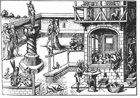 Mineralbad im 15. Jahrhundert — Nach dem Konstanzer mittelalterlichen Hausbuch