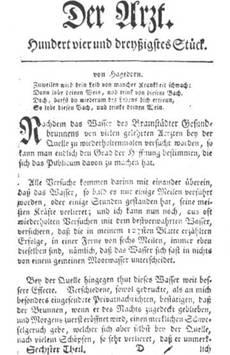 """Titelseite des 134. Stücks aus Unzers Wochenschrift """"Der Arzt"""" 1761"""