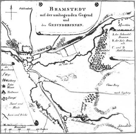 Situationskarte der Mineralquellen von Bramstedt (1810) nach einer Aufnahme von Jargstorff-Kellinghusen gezeichnet von Pastor Holst in Kiel.