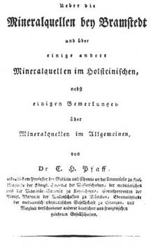 Titel der Abhandlung von C. H. Pfaff über die Mineralquellen bei Bramstedt, Altona 1810.