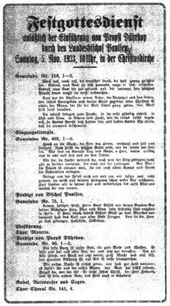 Gottesdienstordnung für die Einführung von Propst Dührkop in Wandsbek durch den DC-Landesbischof Adalbert Paulsen am 5. November 1933