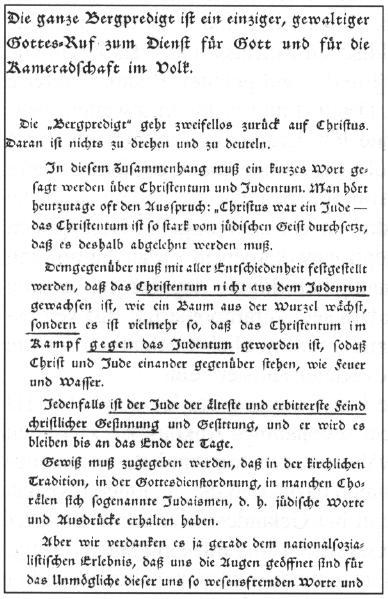 Eine Seite aus Ludwig Müller: Deutsche Gottesworte, Weimar 1936