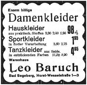 Anzeige von Kaufhaus Leo Baruch, Kirchstr. 1-3 (Juli 1933 bereits Horst- Wesselstr.)