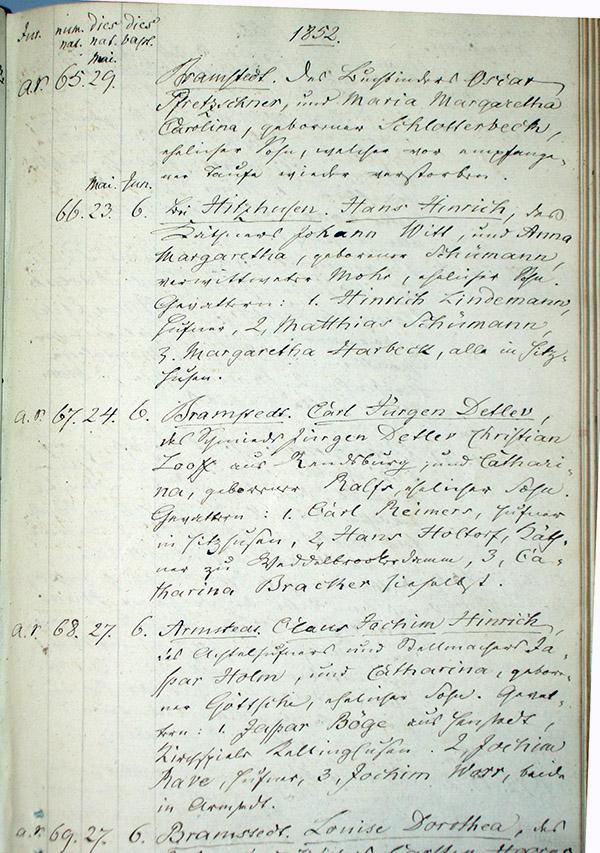 Taufeintrag im Kirchenbuch Bramstedt