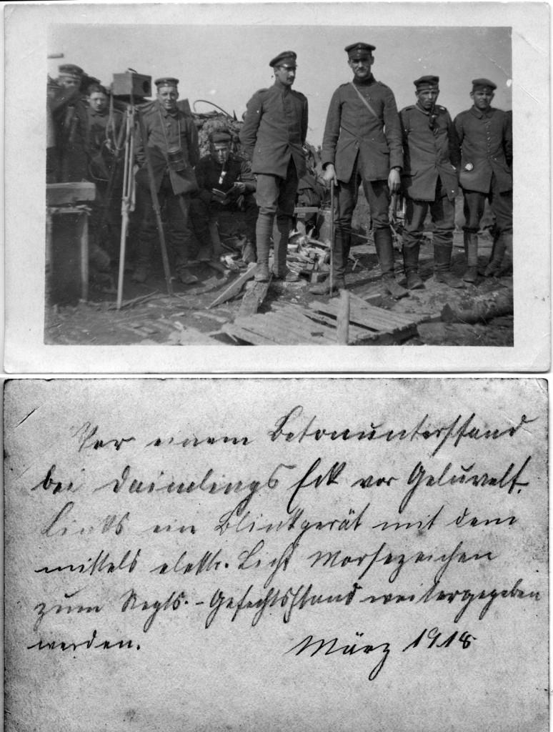 Otto Schnepel sen. (3. v. lks.) an einem Gefechtstand in Frankreich 1916