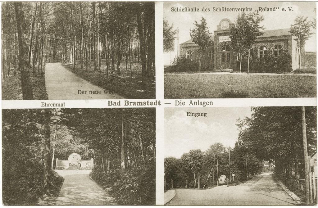Die Anlagen im Herrenholz auf einer Postkarte von ca. 1925/6 - Das Schützenhaus wurde am 31.5.1945 zerstört