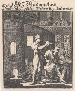 »Der Glasmacher«. Kupferstich von Christoph Weigel. Aus: »Abbildung der Gemein-Nützlichen Haupt-Stände …«. Regensburg 1698 © Ch. Brandstätter Verlag
