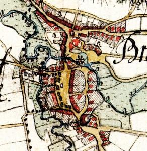 Varendorfsche Karte von ca. 1786 zeigt den Gutshof mit seinen Gebäuden